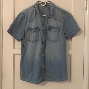 H&M Jean Short Sleeve Button Up